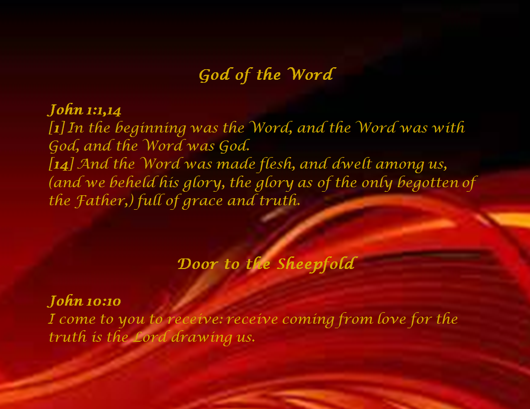Slide of I AM the God of the Word I AM the Door to the sheepfold