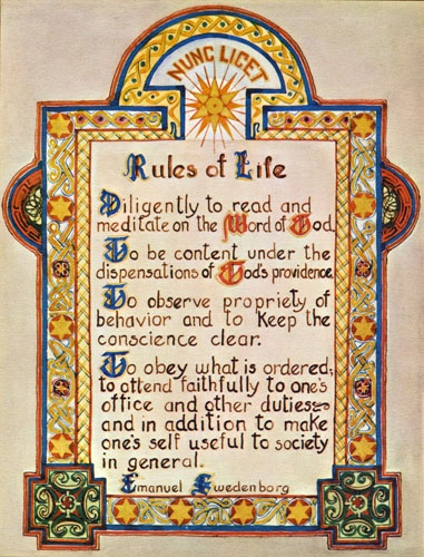 Picture of Rules for Life Diligently to read and meditate on the Word of God. To be content under the dispensations of God's providence. To observe propeity of behavior and to keep the conscience clear. To obey what is ordered; to attend faithfully to on's office and other duties~and in additon to make one's self useful to society in general.